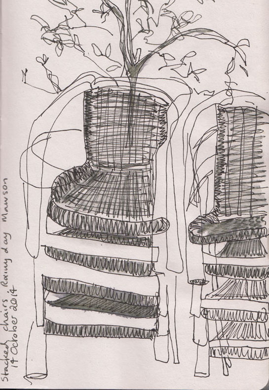 Stacks of chairs, pen and ink, 14 October 2014