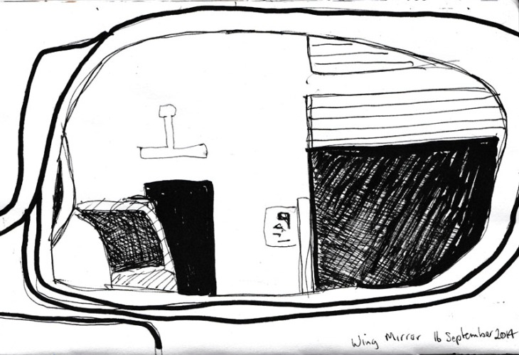 Wing mirror with open garage door, pen and ink and acrylic marker, 16 September 2014