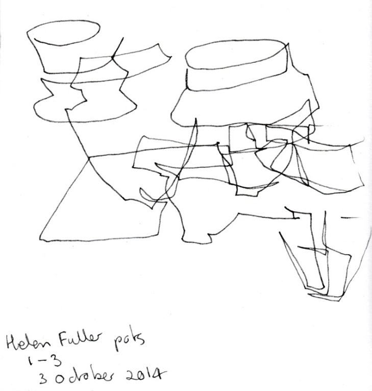 Helen Fuller pots, numbers 1-3, pen and ink, Drill Hall Gallery, 3 October 2014