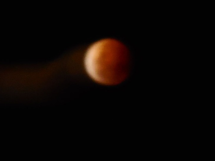 My handheld shot, the moon dragging a 'tail', 8 October2014