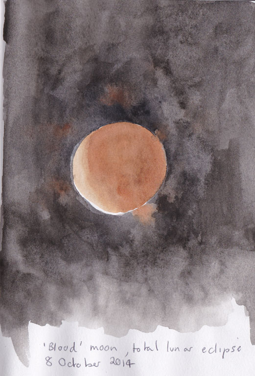 the 'blood' moon, watercolour, 8 October 2014