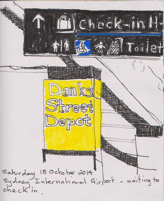 Sydney Airport food court and signage, 18 October2014, pen and ink and acrylic marker