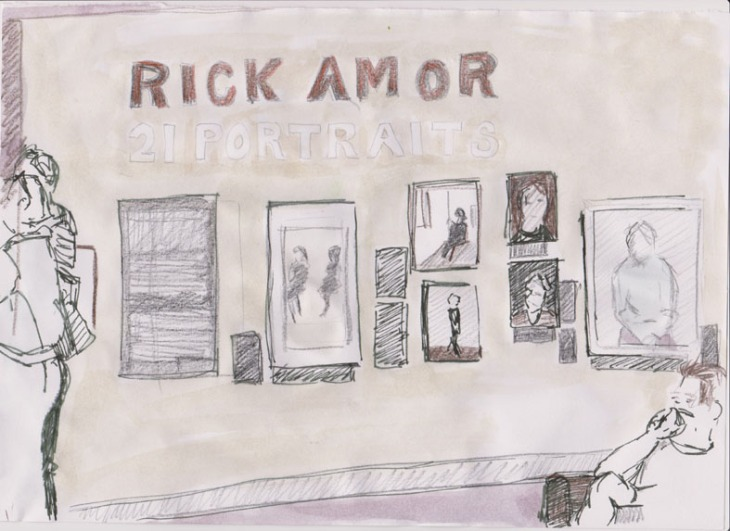 Rick Amor, Gallery 1, National Portrait Gallery, Canberra, 30 November 2014, pencil, ink and watercolour.