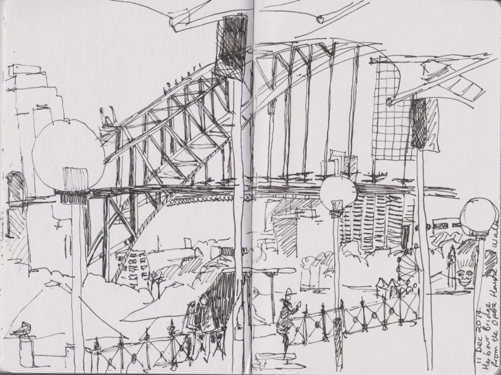 The Harbour Bridge from the Opera Walk, Circular Quay, Sydney. 11 December 2014, Copic Multiliner