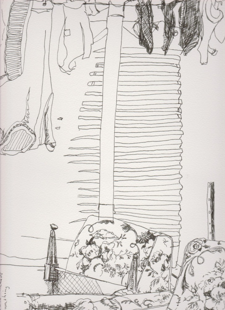 Water tank with old chairs, pen and ink, 12 December 2014