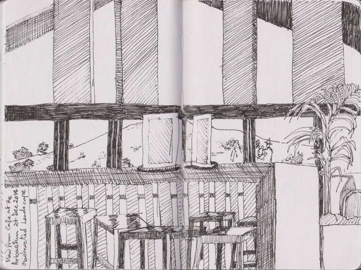 Obscured landscape, partial view from the National Arboretum cafe, Copic Multiliner, 24 December 2014