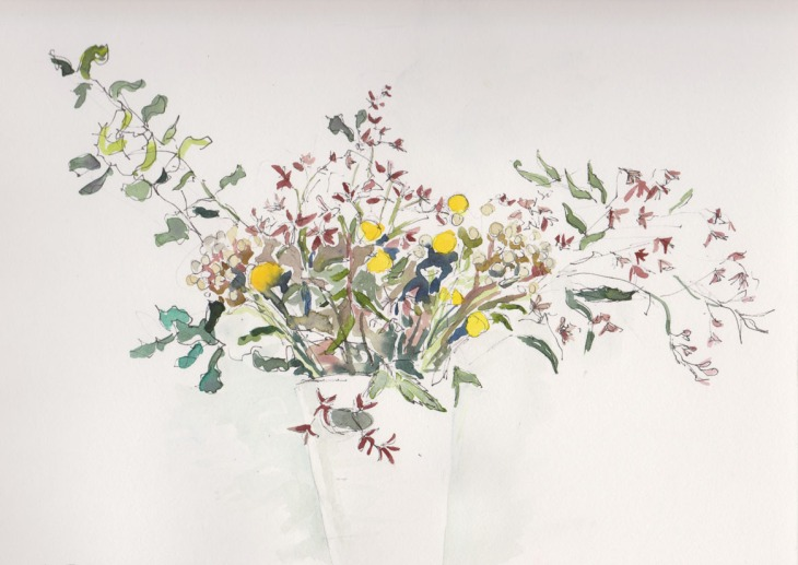 A Christmas arrangement, pen and watercolour, 29 December 2014