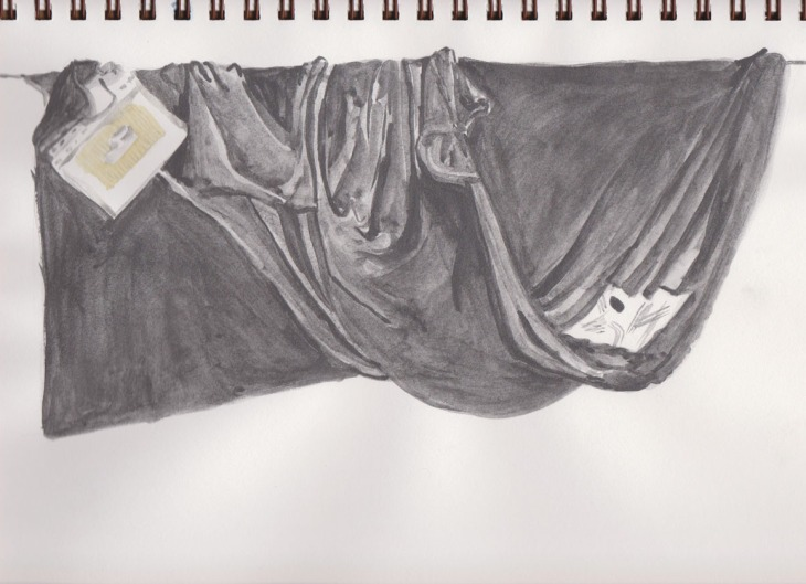 Final version of the tonal drapery study, Art Graf soluble graphite, 30 December 2014