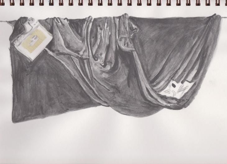 Final version of the tonal drapery study, Art Graf soluble graphite, 30 December 2014