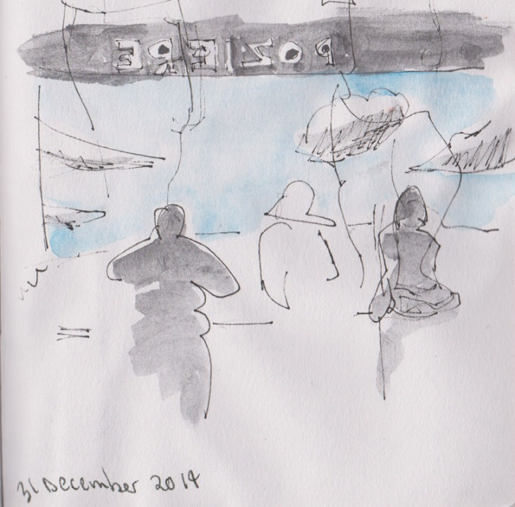 People looking at the Poziere diorama, Australian War Memorial, Copic Multiliner, graphite and watercolour, 31 December 2014
