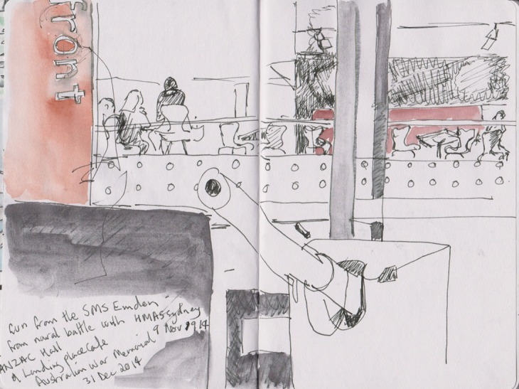 Gun from the SMS Emden and the Landing Place cafe, Australian War Memorial, 31 December 2014, pen and ink, graphite and watercolour.