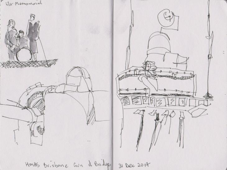 The bridge and gun 52 of the HMAS Brisbane, Australian War Memorial 31 December 2014, pen and ink