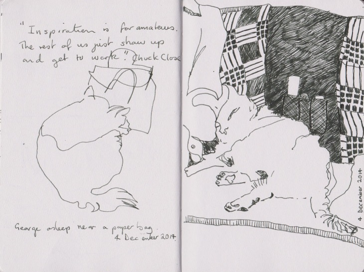 George asleep near a paper bag (left), pen and ink  and George asleep against my partner (right), Copic marker