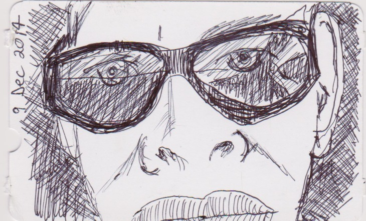 Scary self-portrait, ballpoint pen, 9 December 2014
