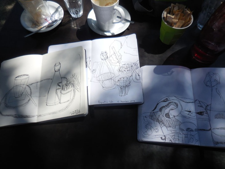 Triple play drawings at the cafe, 17 December 2014