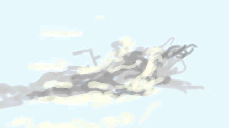 Cloud study, late afternoon, e-drawing (Photoshop Touch), 11 December 2014