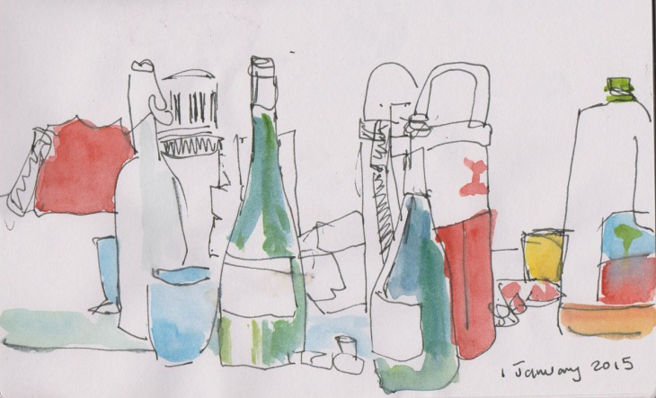 Part of our festive New Year's breakfast, pen and ink and watercolour, 1 January 2015