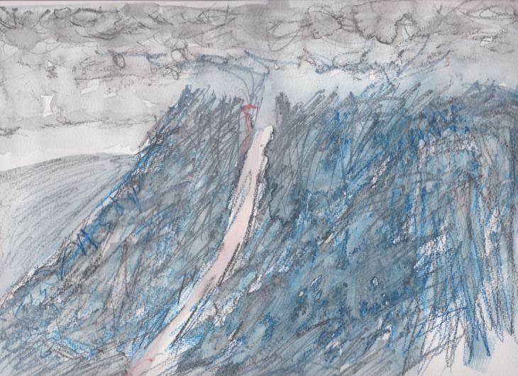 Mt Tennant under low cloud, watercolour pencils, held together, 24 cm x 32 cm on Canson Montval, 200gsm, watercolour block, 20 January 2015