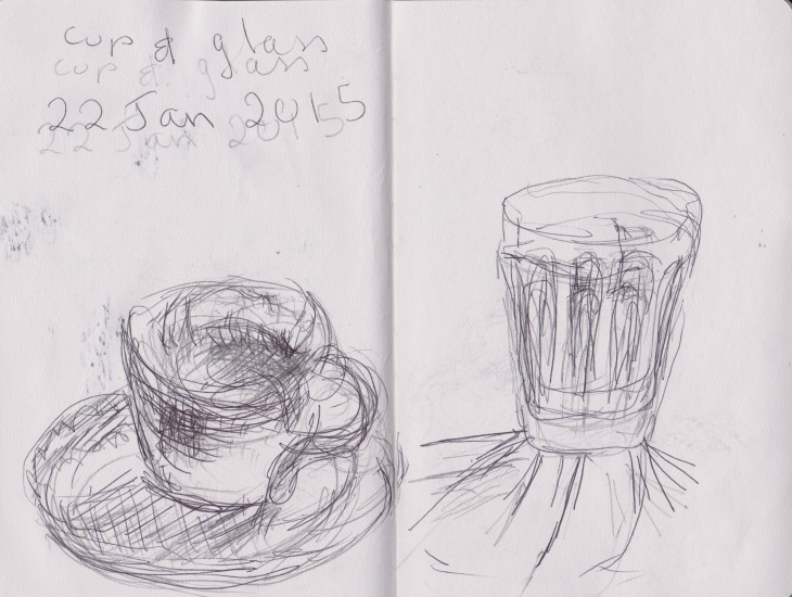 glass and cup, pencil and ballpoint pen, held together, 22 January 2015