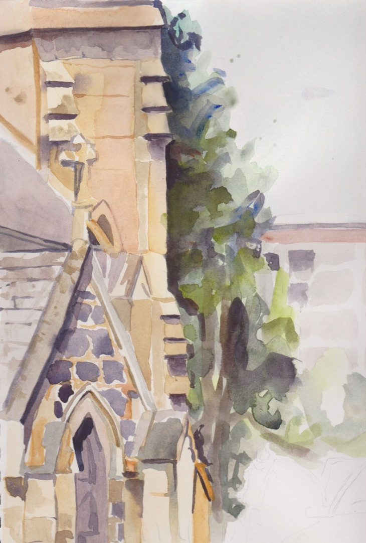 St John's Church, Canberra, from the northern side looking towards the tower on the western end of the building, watercolour, 5 January 2015
