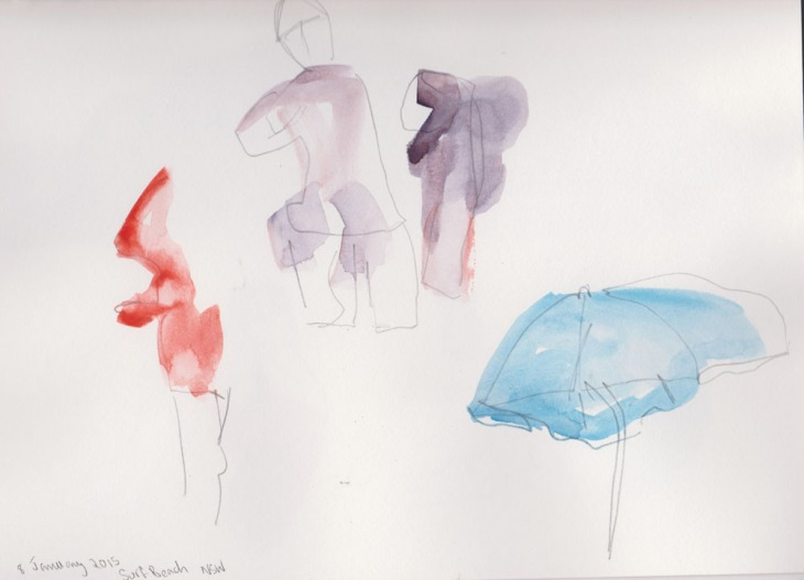 First attempts at capturing quick sketches of people and an umbrella, watercolour and pencil, 8 January 2015