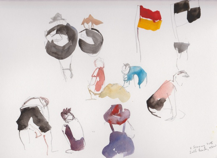 Some fun images including people carrying inner tubes and the beach flags, watercolour and pencil, 8 January 2015