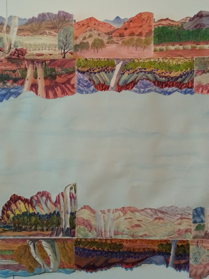Knara, Nunaka Tywerewtye, Our Big Country: The West MacDonald Ranges The Big Picture, Collaboration with Collage, watercolour, Gloria Pannka, Kevin Wirri, Rienhold Inkamala, Lenie Namatjira, Ivy Pareroulta' Selma Coulthard Nunay with Rolande Souliere