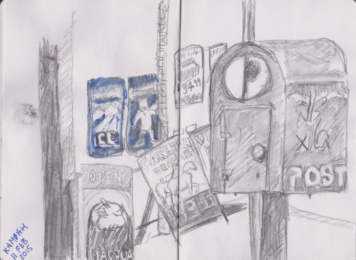 Post box and advertising signs, watersoluble pencil and ink, 11 February 2015