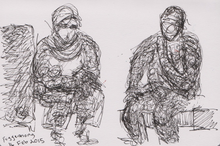Two Smokers, Tuggeranong, pen and ink, ball point pen, 16 February 2015
