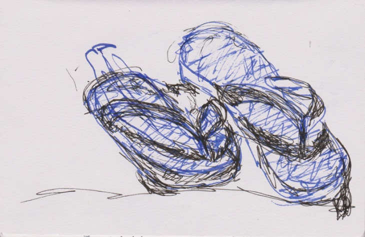 Blue thongs, double pen drawing, 17 February 2015, Surf Beach