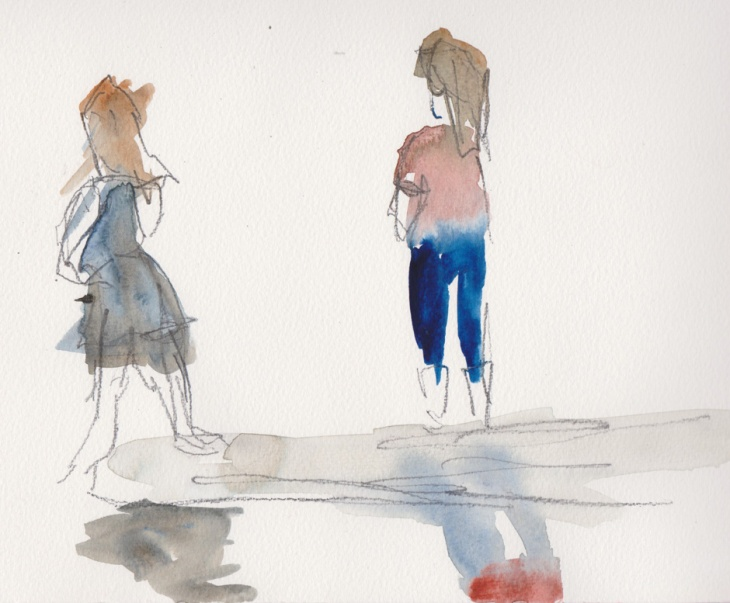 Watching, Surf Beach, 17 February 2015, watercolour and graphite