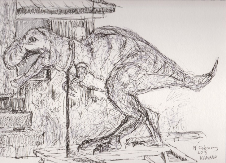 The T-Rex down the road, pen and ink and ball point pen, 19 February 2015