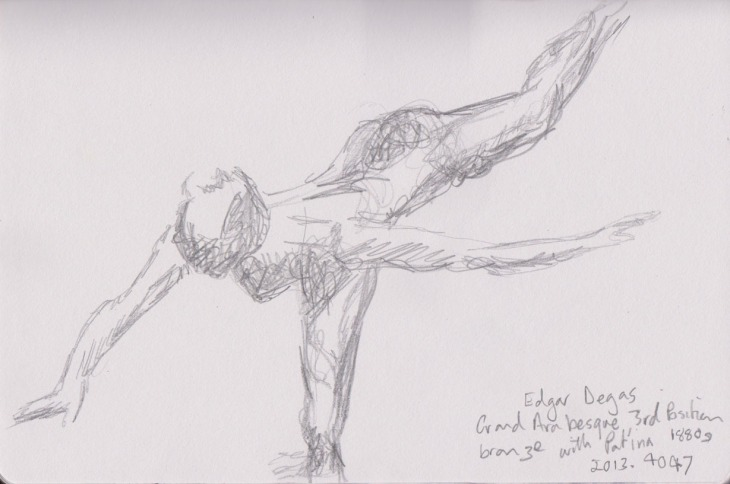 Grand Arabesque 3rd Position, Edgar Degas, bronze with patina, 1880's, pencil, 20 February 2015