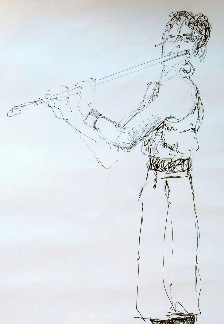 Leila on flute, pen and ink and ball point pen, 22 February 2015