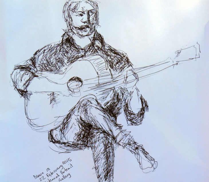 Michael on guitar, pen and ink and ball point pen, 22 February 2015