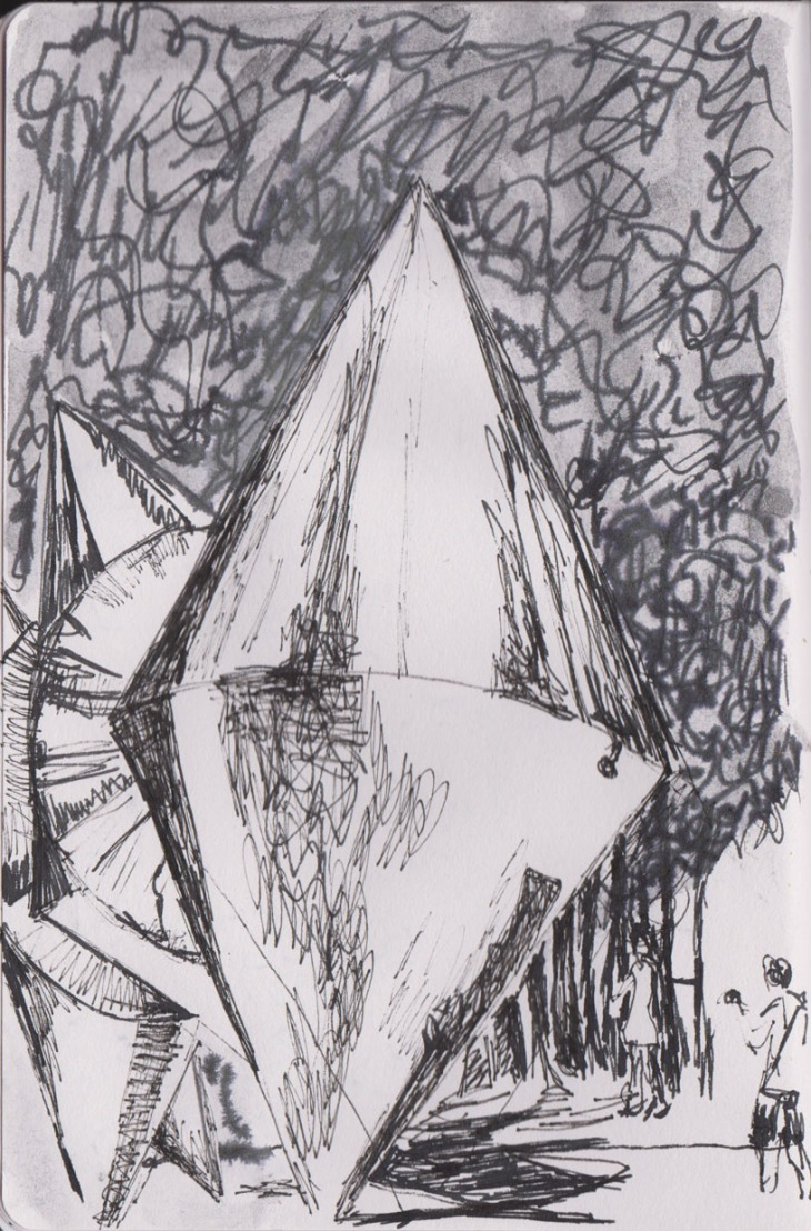 Cones by Bert Flugelman, pen and ink, Copic Multiliner, liquid graphite, 8 February 2015