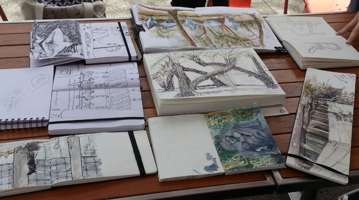 Another view of the finished sketches, 8 February 2015