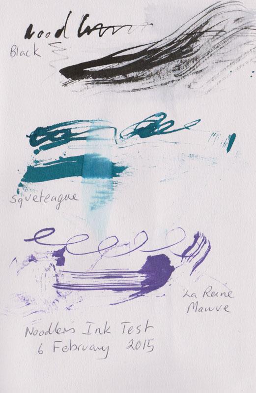 Noodler's inks testing, Black, the just about unpronounceable Squeteague and La Reine Mauve