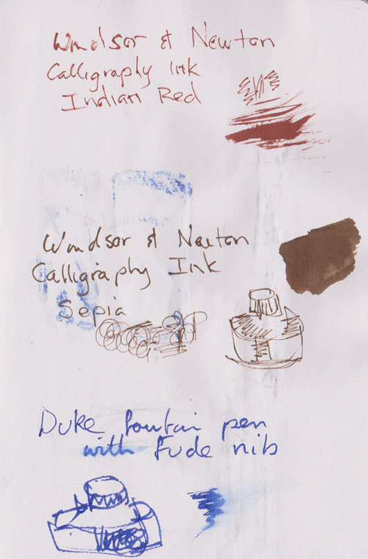 Windsor and Newton calligraphy inks, Indian Red and Sepia and the Duke 209 fude nib using the blue ink cartridge it comes with
