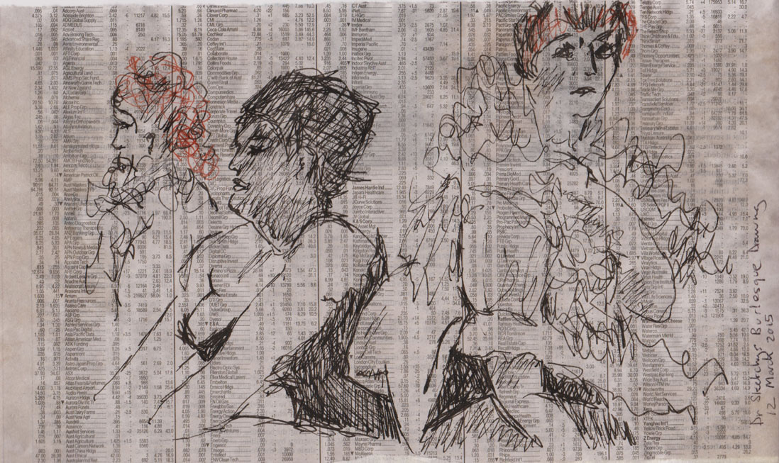 Two versions of Ms Bandersnatch, either side of Ms Martini, pen and ink and Pitt pen on newspaper and Japanese paper, 12 March 2015