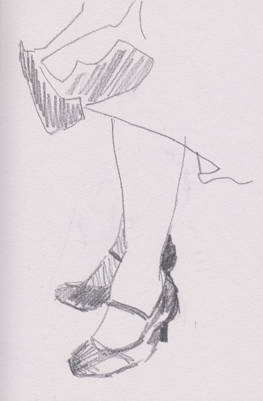 Ms Bandersnatch's feet, graphite, 12 March 2015