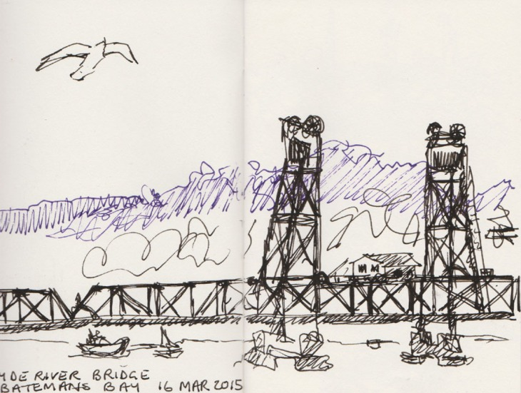 The Clyde River bridge (the other one) at Bateman's Bay NSW, pen and ink, 16 March 2015