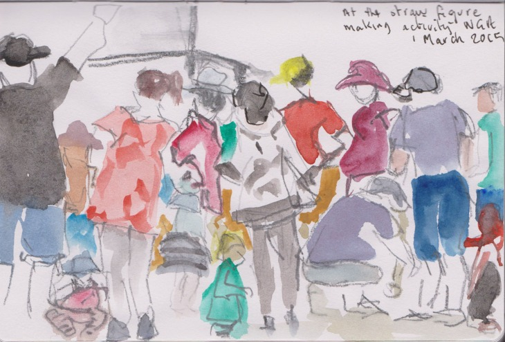 The straw figure making activity, National Gallery of Australia, watercolour, 1 March 2015