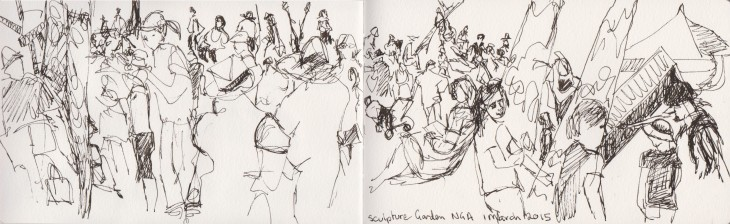 Families in the central lawn area on Sculpture Garden Sunday, National Gallery of Australia, 1 March 2015 pen and ink.