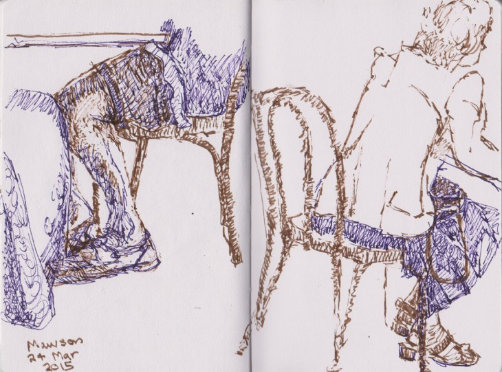 Leg studies at the Italian Bakery in Mawson, pen and ink, 24 March 2015