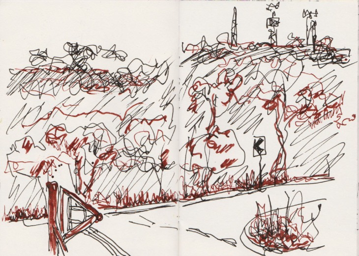 Red Hill from Corkhill Bros at the Mugga Lane tip, pen and ink, 30 March 2015