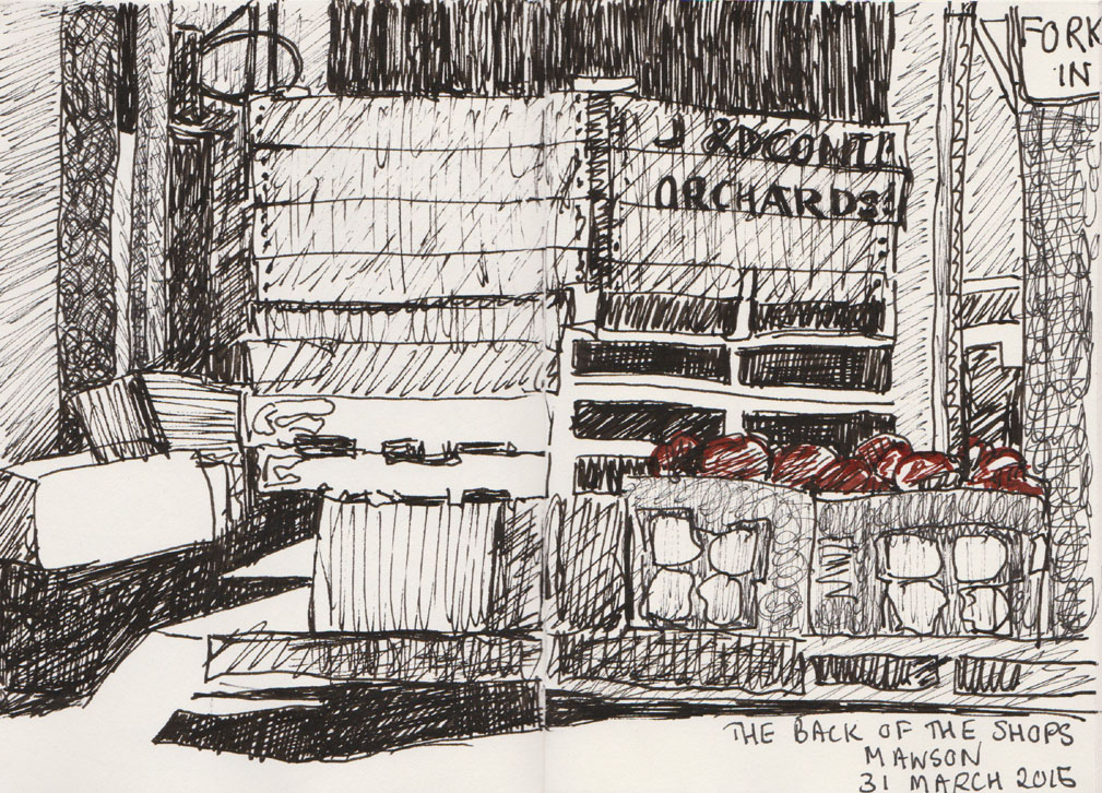 The back of Jabals Halal Market, Mawson ACT, pen and ink, 31 March 2015