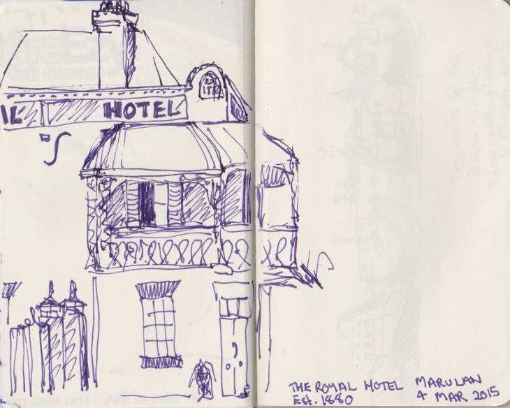 The Royal Hotel, Marulan, NSW, pen and ink, 4 March 2015