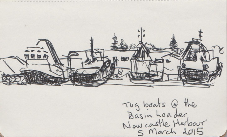 Tugs in Newcastle Harbour, NSW, ballpoint pen, 5 March 2015