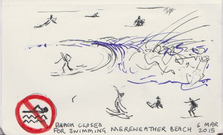 Surfers at Merewether Beach, NSW, pen and ink, ball point pen, 6 March 2015